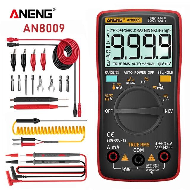 ANENG AN8009 Digital Multimeter Transistor Tester Kondensator True RMS Tester Automotive Elektrische Kapazität Meter Temp Diode