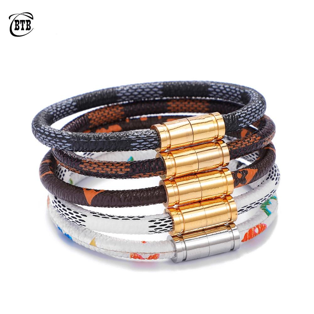 Fashion Leather Bangles Bracelets Stainless Steel Magnetic Bracelet Men Jewelry Vintage Charms Bracelet Homme Female Jewelry