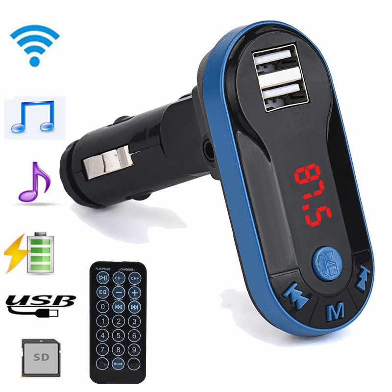 Nirkabel Bluetooth FM Transmitter MP3 Player Handsfree Mobil Kit USB TF SD Remote Hands Free Mobil Kit FM Transmitter