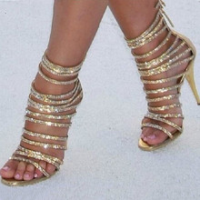 Bling Bling Gold Crystal Sandals Thin Strappy Gladiator
