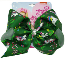 8 Large JoJo Bow Hair Clip For Girls Kids Handmade Christmas Printed Ribbon Knot Jumbo snowflake Accessory 19043