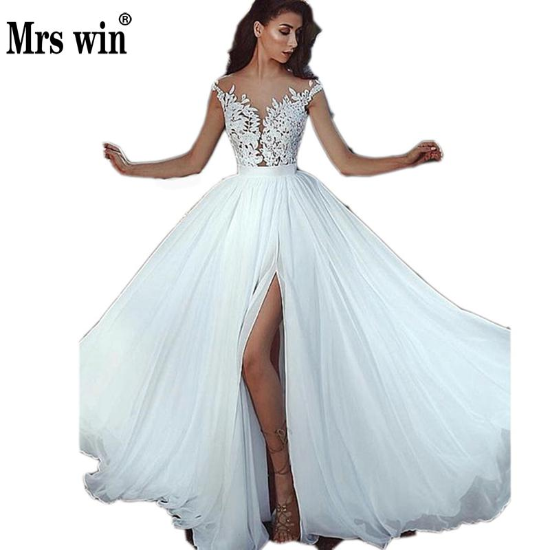 Mrs Win Wedding Dresses Sexy V-neck A-line Wedding Gown Claossic Bridal Dress Princess Backless Wedding Dresses Custom Size