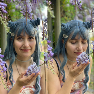 Image 2 - アランイートン波状女性かつら高温繊維合成かつらロング波状毛ウィッグ女性ブルーかつら前髪女性