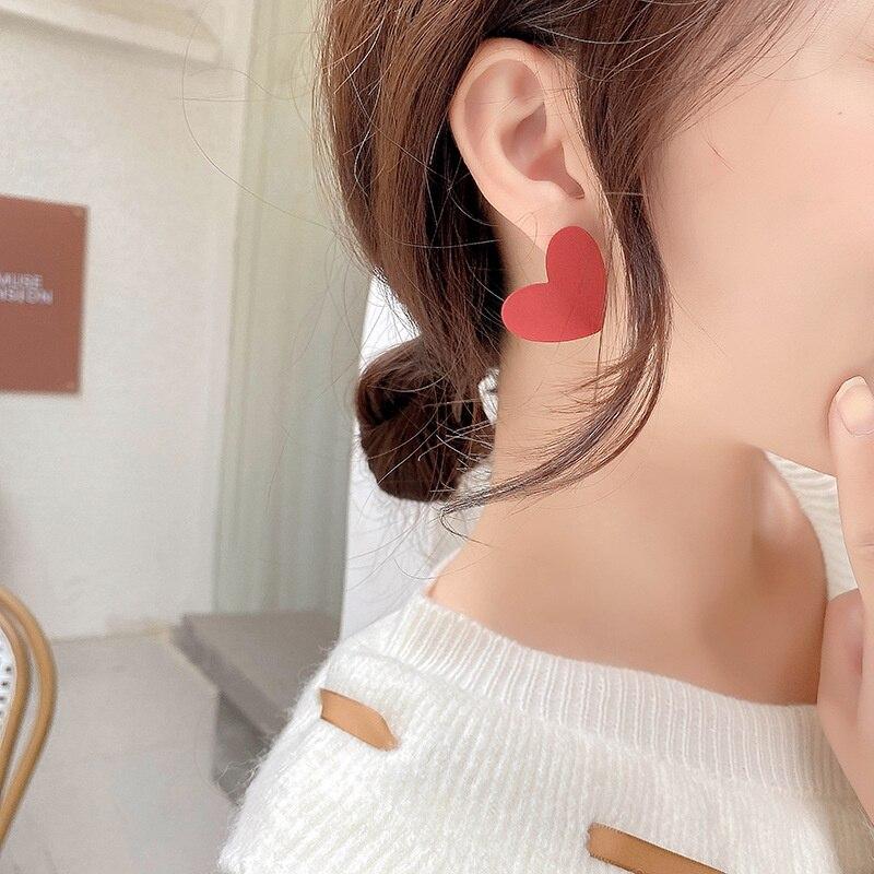 Orecchini grandi Vintage a forma di cuore rosso amore 2021 orecchini in lega di metallo a forma di cuore grande per accessori moda donna