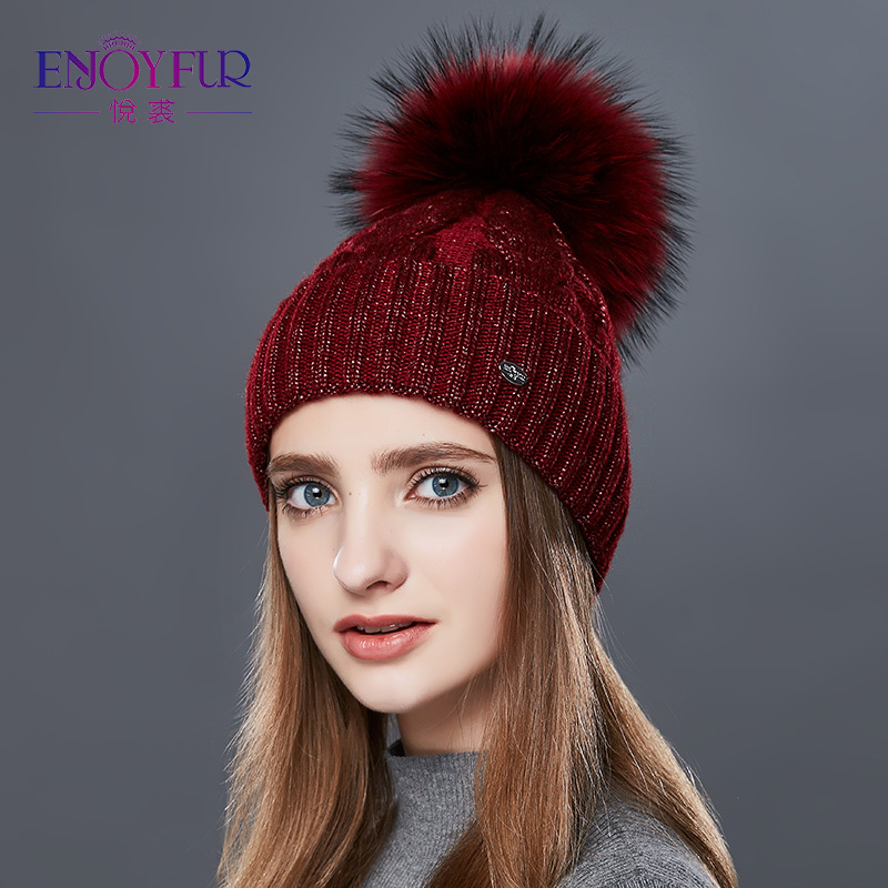 ENJOYFUR Fashion Winter Hats Caps Women Rough Twist-Type Cashmere Knitted Hat Female Girl Thick Warm   Beanie   Fur Pompom Gorro