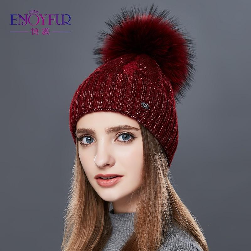 ENJOYFUR Fashion Winter Hats Caps Women Rough Twist-Type Cashmere Knitted Hat Female Girl Thick Warm Beanie Fur Pompom Gorro