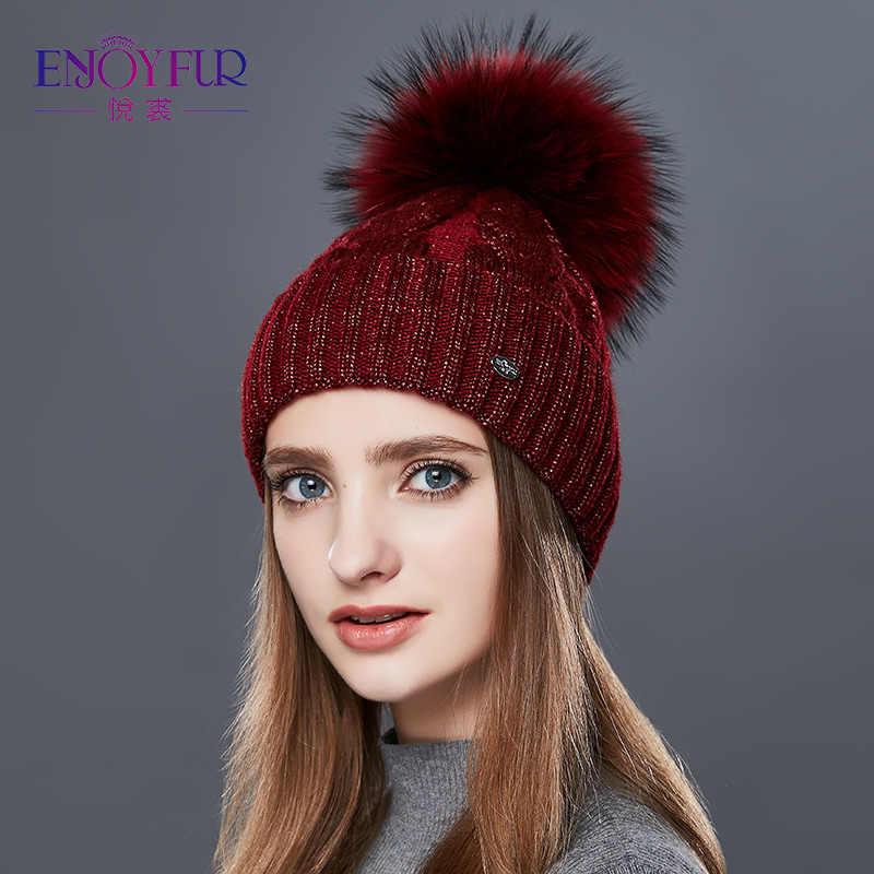 Enjoyالفراء موضة الشتاء قبعات قبعات النساء الخام تويست من نوع الكشمير محبوك قبعة الإناث فتاة سميكة الدافئة قبعة كرة فرو Gorro