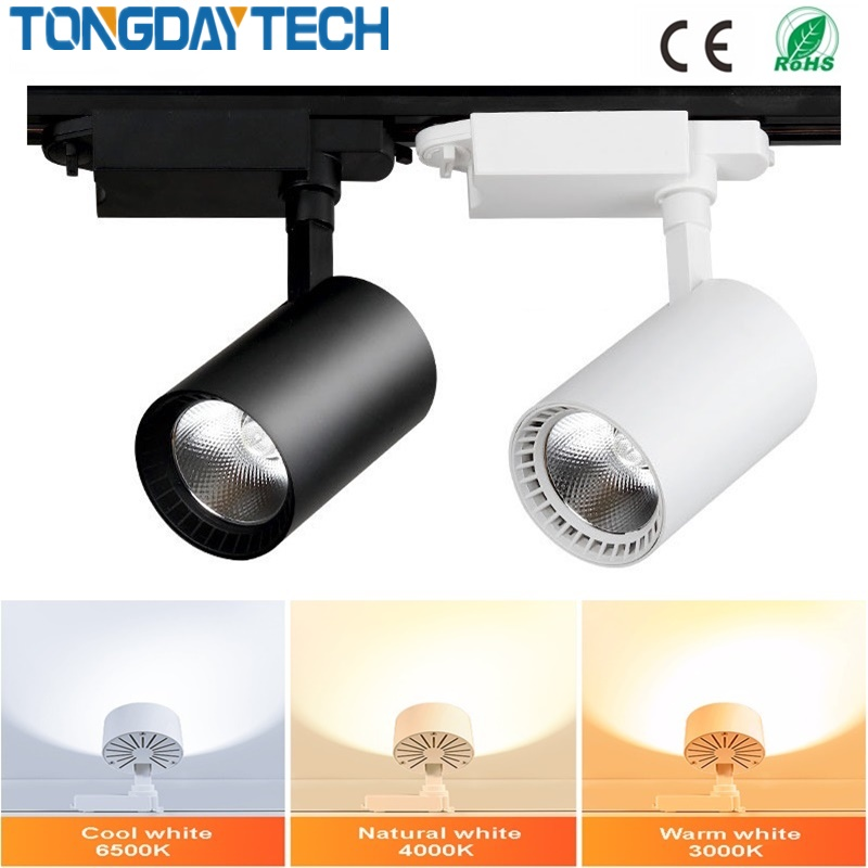 12W 20W 30W COB Track Light Rail Spotlights Leds Aluminum Track Lamp Lights Fixture Spot Lights Reflectors For Clothes Store