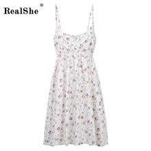 RealShe Summer Dress Beach V-Neck Sleeveless Empier A-Line Mini Dress Floral Women Dress Mori Girl Casual Dress Women Cotton a line floral sleeveless dress