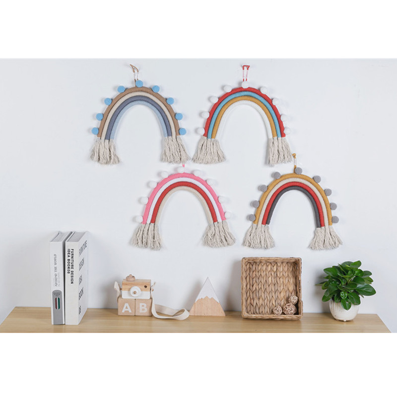 INS Nordic Macaron Color Knit Rainbow Baby Bedroom Decor Hanging Toys Newborn Hanging Ornaments Crib Bed Bell Kids Room Decor