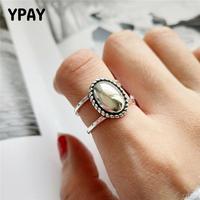 YPAY, винтажное, овальное, матовое, зеркальное, ажурное кольцо для женщин, Корейская личность, настоящее 925 пробы, серебряные, регулируемые кол...