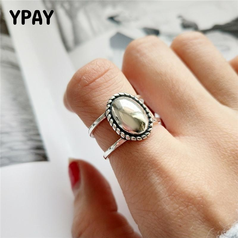 YPAY Vintage Oval Matte Mirror Openwork Ring For Women Korean Personality Real 925 Sterling Silver Adjustable Rings Gift YMR851