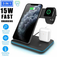 For iPhone 11 Pro Max XS Max 3 In 1 Wireless Fast Charger Charging Station Dock|Phone Holders & Stands|Cellphones & Telecommunications -
