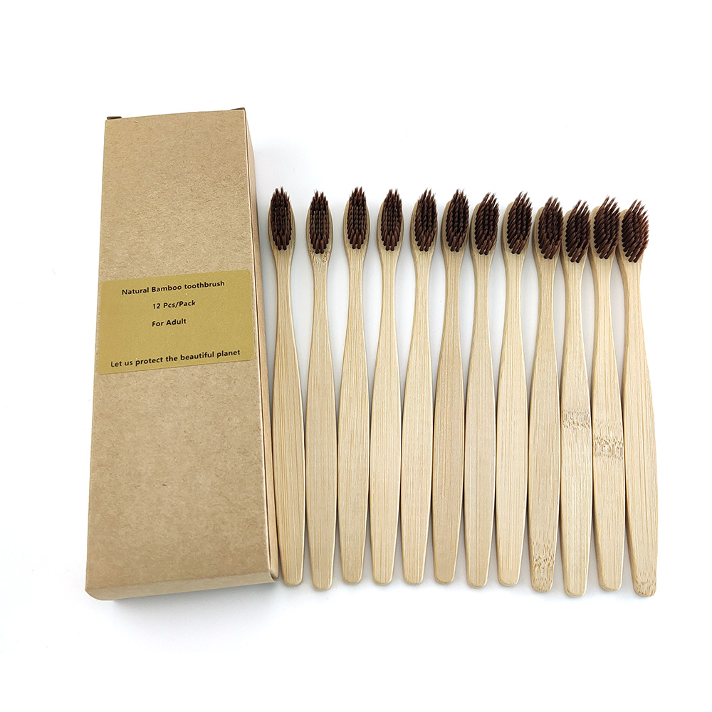 12 Pcs Toothbrush Soft Bristle Wooden Tooth Brush Natural Bamboo Handle Dental Oral Care Eco Friendly Travel Tooth Brush