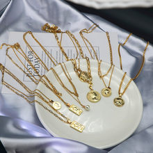 Stainless Steel Necklace for Women Sweater Chain No Fade Jewelry Gold Coin Pendant Necklace Jewelry Accessories Wholesale