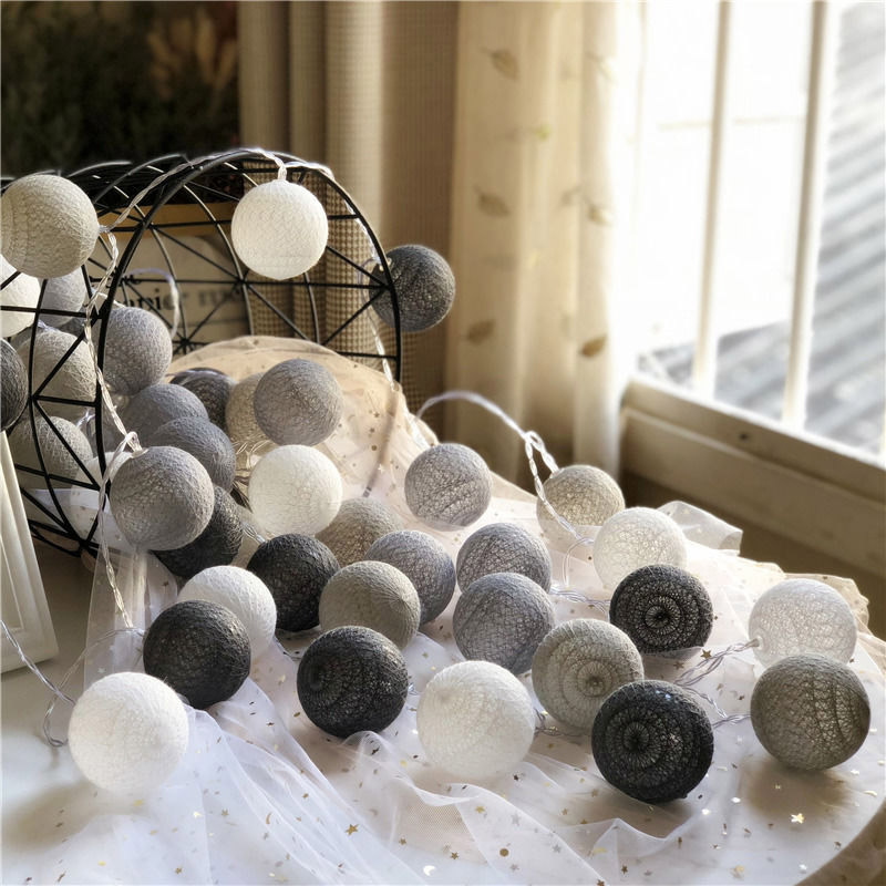 xg LED Garland Cotton Balls String Light New Year Wedding Birthday Christmas Bedroom Babybed Decor Fairy Lights Accessories