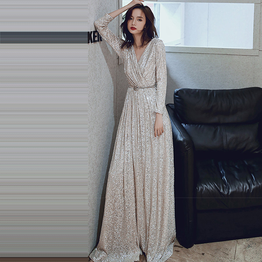 Long Sleeved Evening Dress Long Plus Size Robe De Soiree K027 Elegant Women Party Dresses 2019 Sexy V-Neck Sequins Formal Gowns