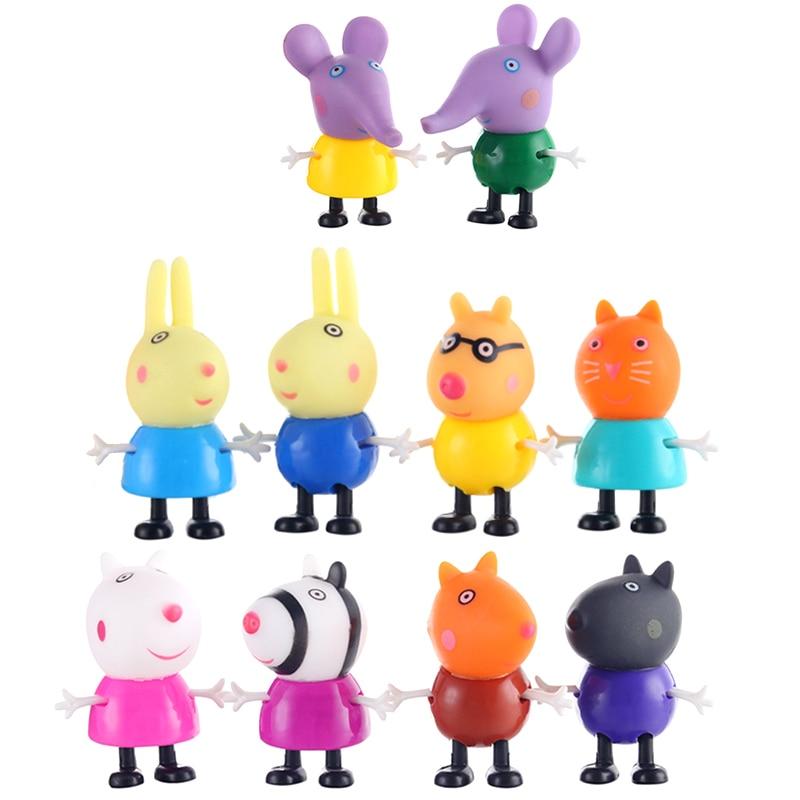 Оригинальные куклы Peppa Pig, Джордж, 25 шт., набор, фигурки из аниме, игрушки из мультфильма, семейные друзья, Свинка Пеппа, вечерние игрушки для детей, подарок на день рождения, Рождество - Цвет: 10 Pcs
