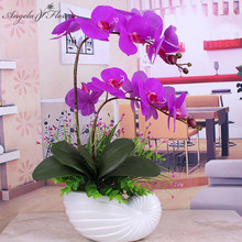 Artificial orchid phalaenopsis with 1pcs big size leaf PU real touch flower hand feel wedding decor for home table accessorie