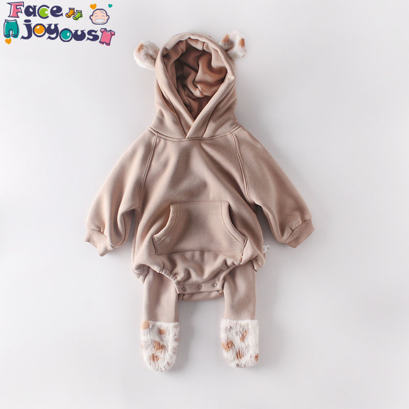 Cartoon Winter Baby Boy Romper Plush Lining Baby Winter Clothes Long Sleeve Hooded Infant Girls Clothes Jumpsuit Toddler Onesie