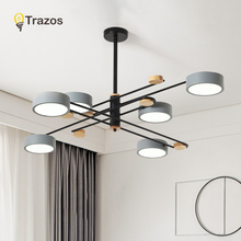 TRAZOS Metal LED Pendant Lights For Living Room Creative Bedroom Lamp Hanging Dining Light Wooden Home Deco Lamps