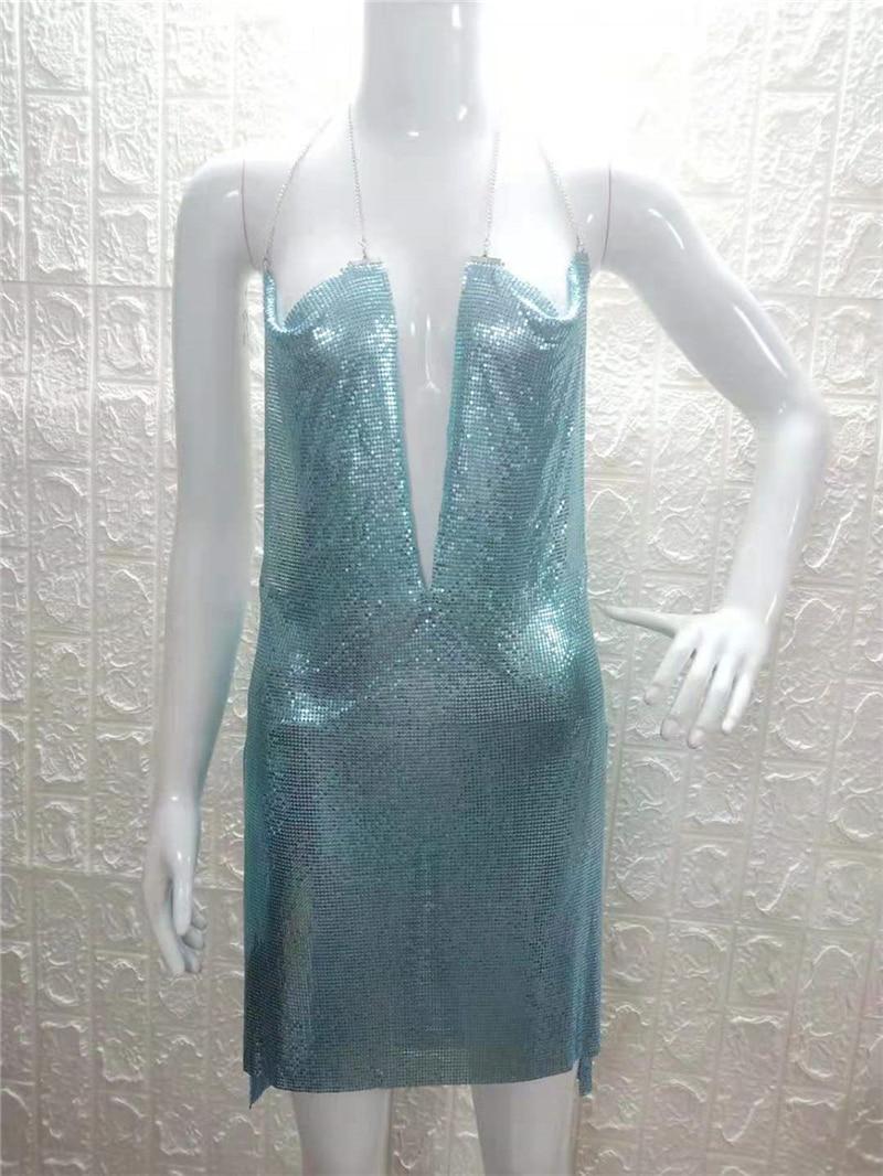 Women Sequined Mini Backless Halter Sleeveless High Split Sexy Slim Party Dresses