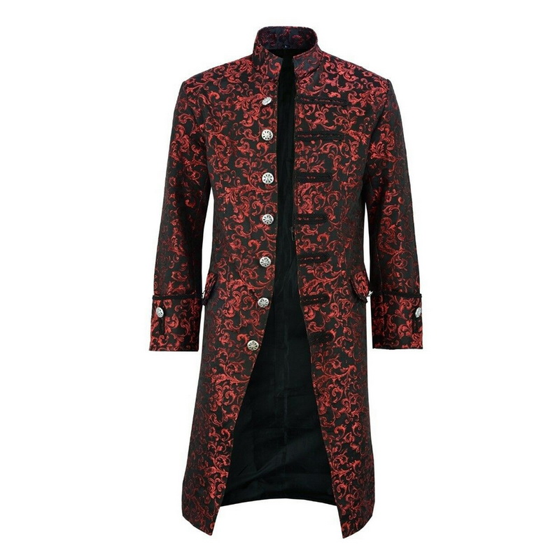 H30697f648dc249f4a5598732dd72f6baU HEFLASHOR Men Edwardian Steampunk Trench Coat Frock Outwear Vintage  Overcoat Medieval Jacket Cosplay Costume