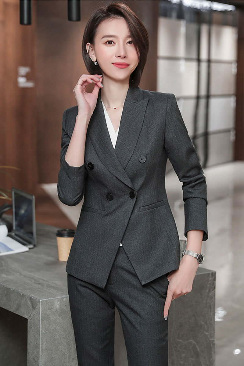2020 Female Formal Elegant Office Work Wear Uniform OL Ladies Trousers Blazers Jacket with Tops Pant Suits 2 Pieces Sets Clothes