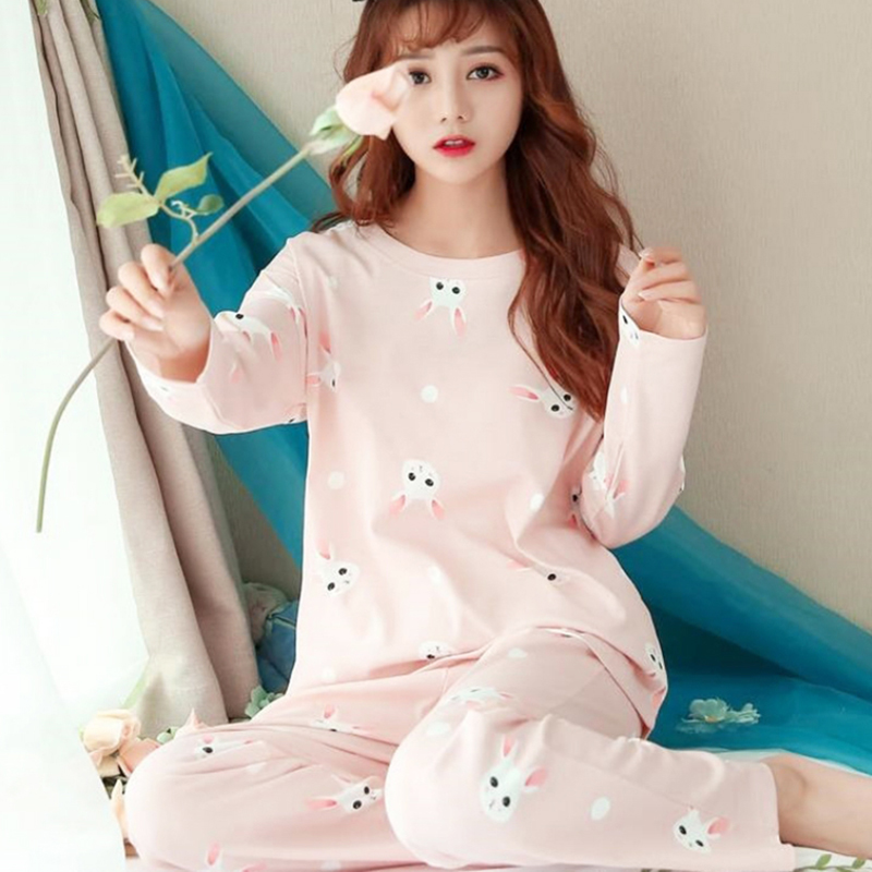 Women Pajamas Set Spring Winter New Thin Cartoon Printed Long Sleeve Cute Sleepwear Casual Homewear Female Pyjamas For Women