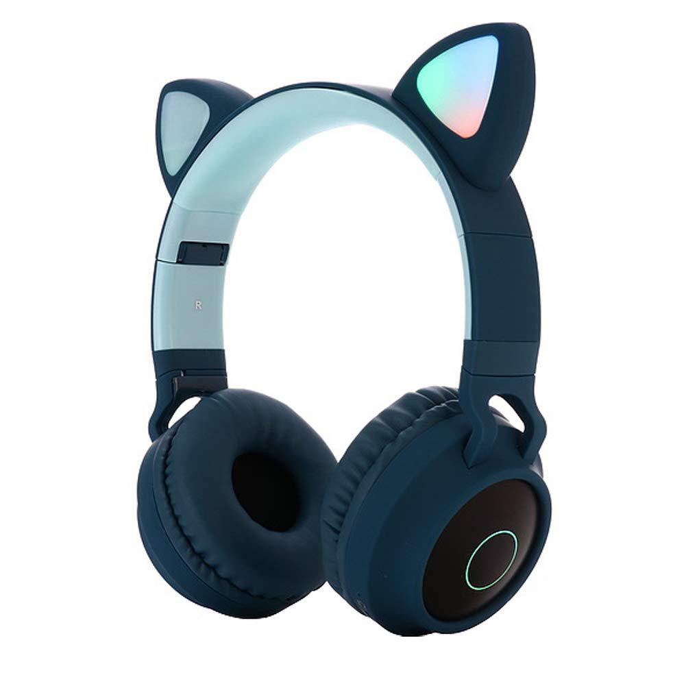 Cute Cat Ear Bluetooth 5 0 Headphones Foldable On Ear Stereo Wireless Headset With Mic Led Light Fm Radio Tf Card Headphone R60 Earphones Headphones Aliexpress