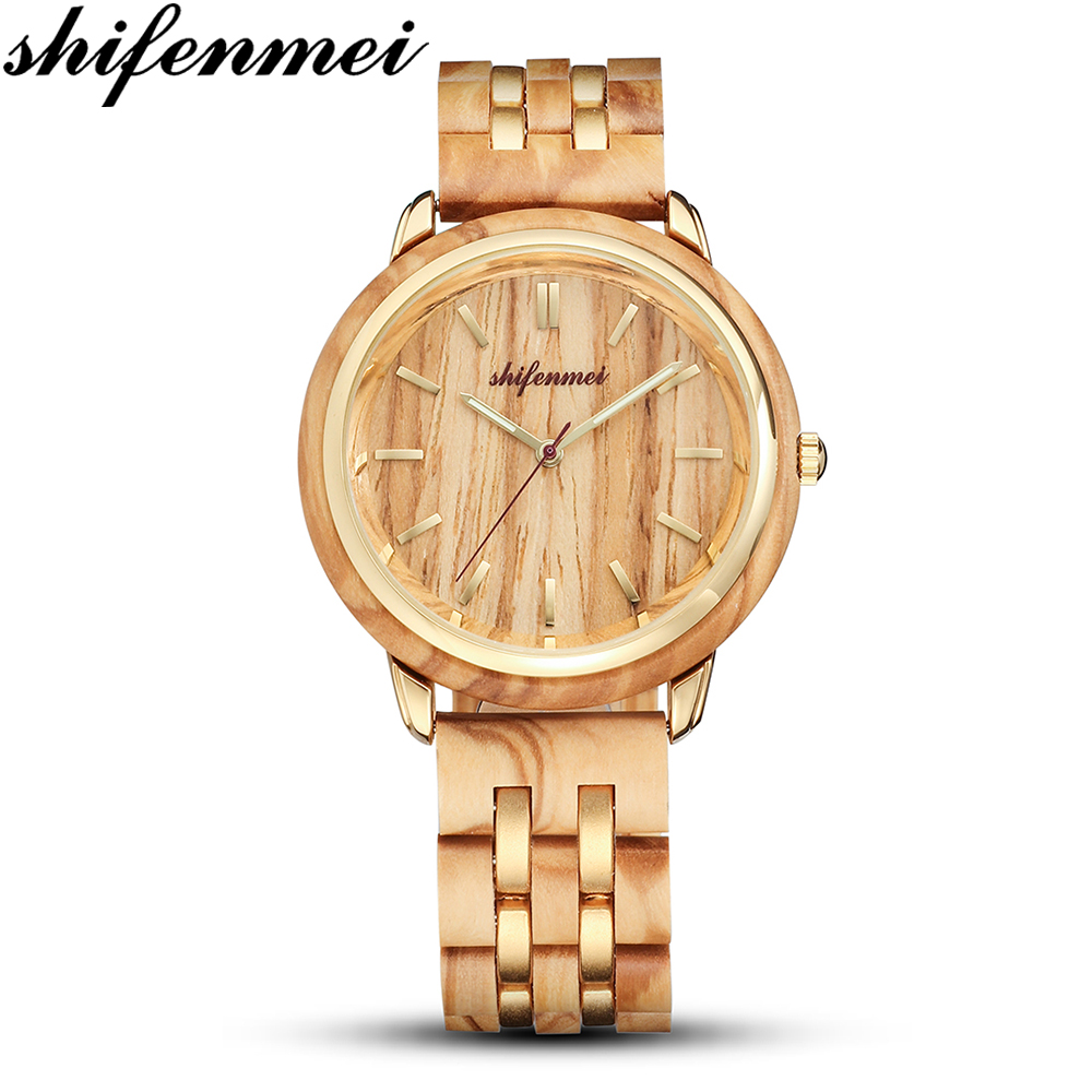 Shifenmei S5503 Female Wooden Quartz Men / Women Watch Simple Wen Lady's Gift Souvenir Luxury Lovers Wood Quartz Watches