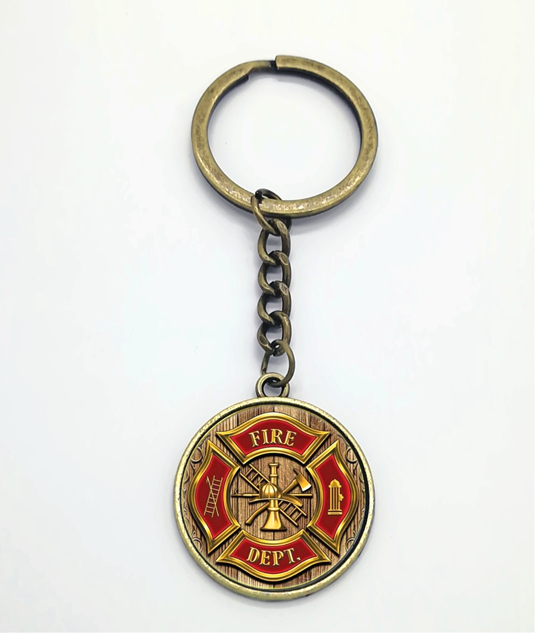 2019 New Fashion Charm Firefighter Tool Glass Keychain Accessories