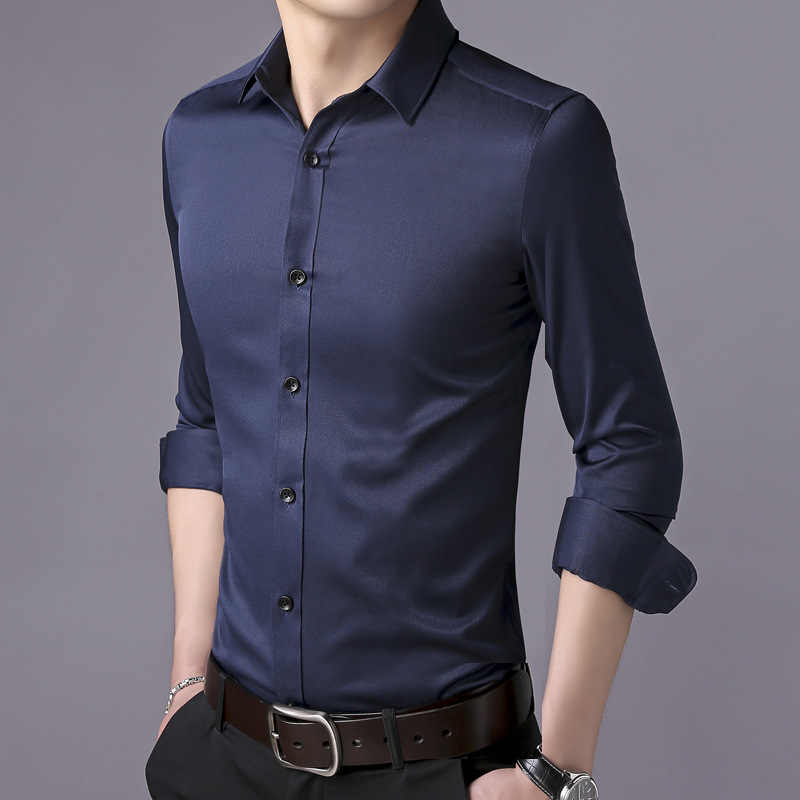 Hohe Qualität lange hülse männlichen hemd Business Casual mode baumwolle hemd männer sozialen shirt Slim fit kleid hemd