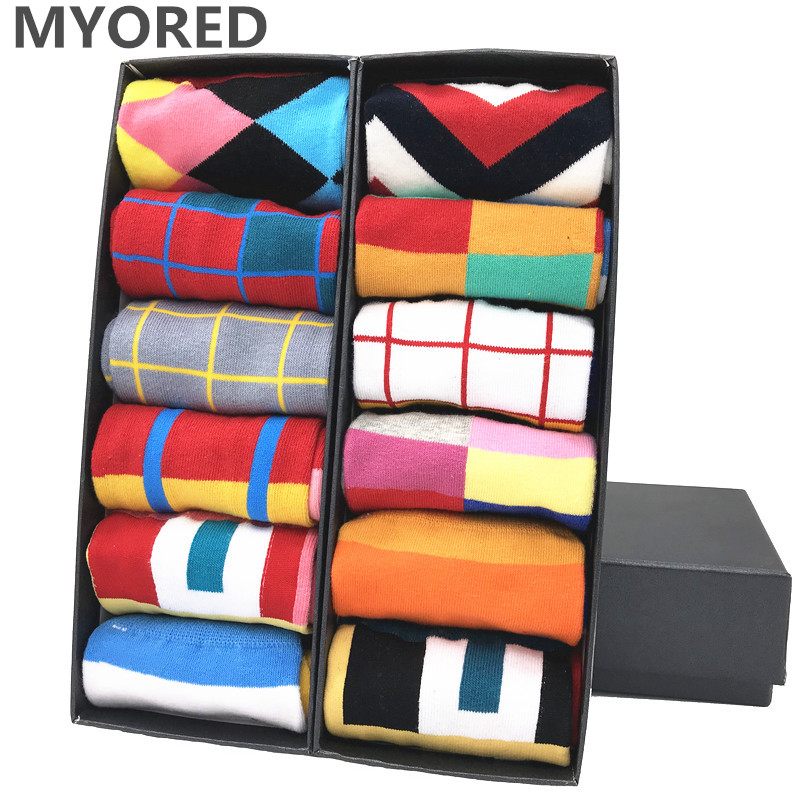 MYORED 12pairs/Lot Fashion Geometric Square Men Socks Funny Style Skateboarding Crew Socks Popular Street Casual Sokken Gift