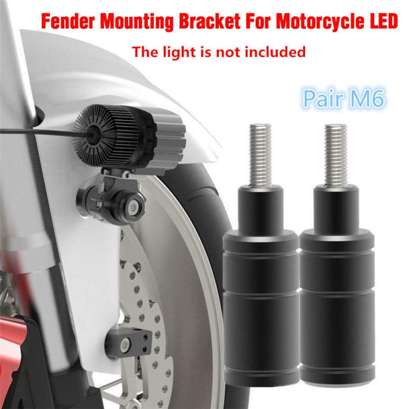 Adjustable 2 Sets Of M6 Bolt Head LED Light Mounting Brackets Post Bar Clamp Support Black CNC Motorcycle Useful