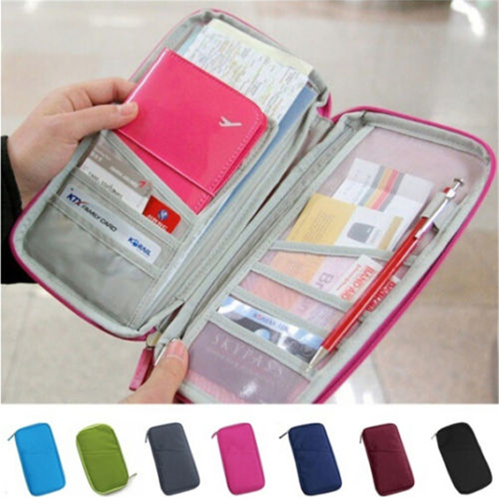 Wallet Purse Travel Passport Credit ID Card Cash Holder Case Document Bag Organizer Canvas Zipper Long Wallet Case Bag New