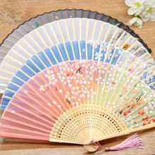 Factory direct sales bamboo two green folding fan children Chinese ancient student gifts can be customized