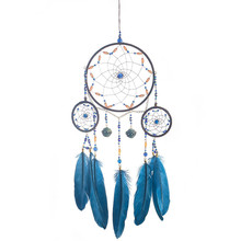 1PC melancholy blue dream catcher hand-made feather 3 rings wind chime pendant woven mesh crafts gift wall hanging home decor