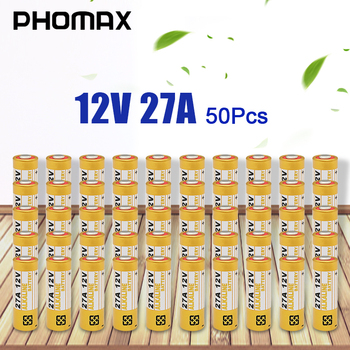 цена на PHOMAX 50pcs/pack 27A 12V electric toy calculator battery disposable battery A27BP K27A V27GA VR27 MS27 alkaline dry bateria