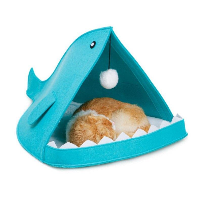 New Pet Tools Cute Felt Cat Beds Nest Dog House Basket Rabbit Pet Cave Funny Fish-Type Pet Nest Portable Foldable Puppy Bed CM