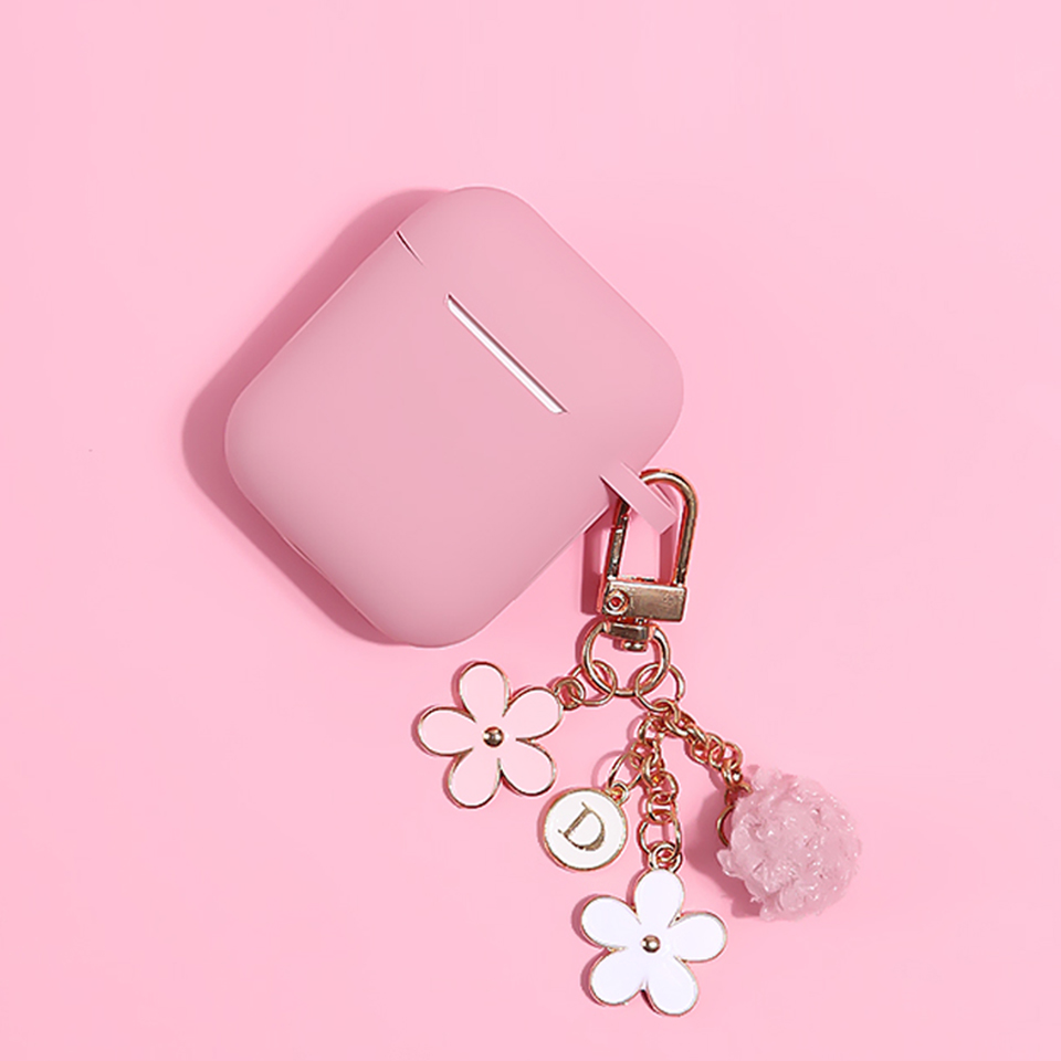 Cute Japanese Luxury Cherry Flower Soft Case For Apple Airpods 1 2 Accessories Bluetooth Earphone Protect Cover Fur Ball Keyring