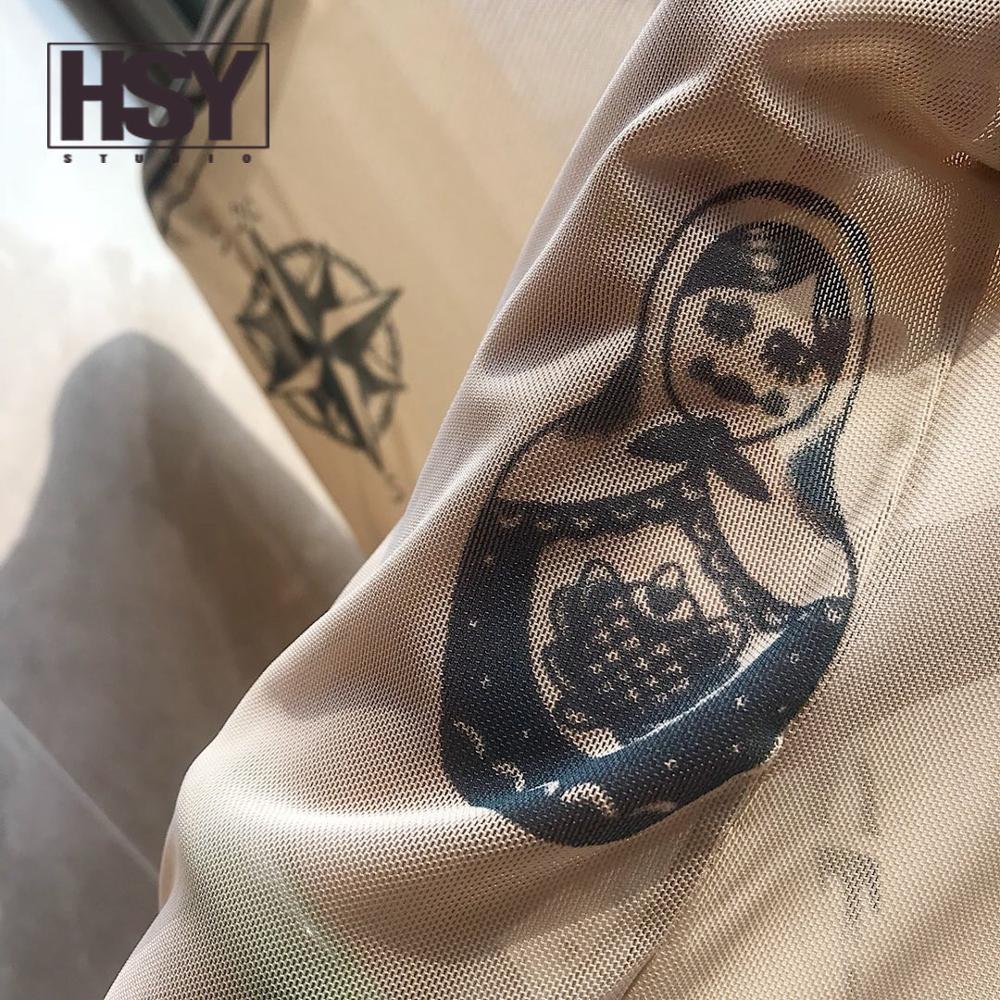 T shirt hsy19 2019 otoño nueva moda mujer Basal superior diosa tatuaje estampado manga larga cuello alto apretado Color desnudo malla hilo camiseta - 5