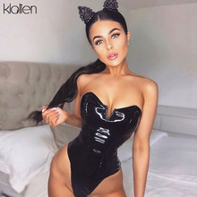 KLALIEN sexy Small V design Black PU Leather Strapless backless bodysuits Women 2020 autumn fashion street party bodysuit mujer