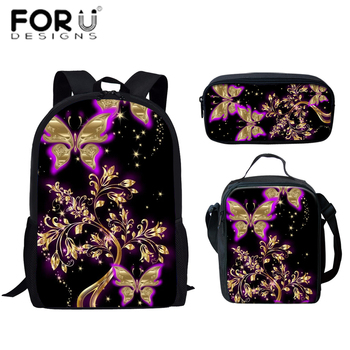 FORUDESIGNS Backpack 3D Printed Cartoon Butterfly Fashion Backpack Women Small Backpack For Teenage Girls Travel Bags School Bag butterfly flower women backpack floral school backpack for boys and girls kids cartoon women travel bag children school bags