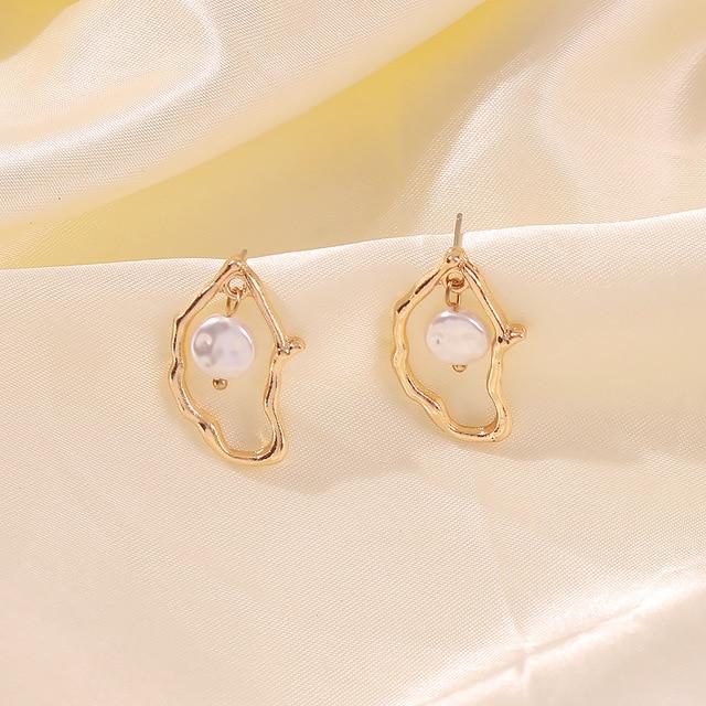 Gold Metal Geometric Baroque Irregular Imitation Pearl Earrings 6