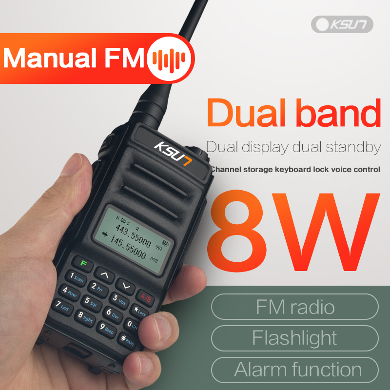 KSUNTFSI X-UV2D Walkie Talkie Dual Band Dual Display 8W High Power Large Capacity Handheld Civilian