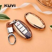 TPU+PC Car Remote Key Cover Case key chain For Nissan Infiniti Q50 FX35 FX FX37 G37 G35 Shell Bag Keyring Keychain