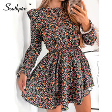 Southpire o-boyun A-Line siyah çiçek baskı Vintage elbise kadınlar uzun kollu fırfır Mini parti elbise rahat günlük giyim moda