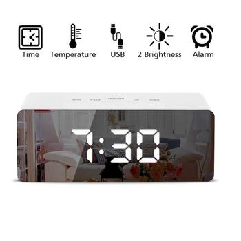LED Mirror Alarm Clock Thermometer Digital Display USB Dimmable Snooze Temperature Night Mode Light Memory Function Desk Clock