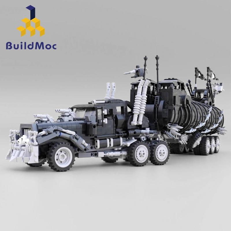 BuildMoc Modified Truck Lepining Technic Series War Rig May Mad Max Movie Collection Model Building Blocks Kits Set Bricks Toys